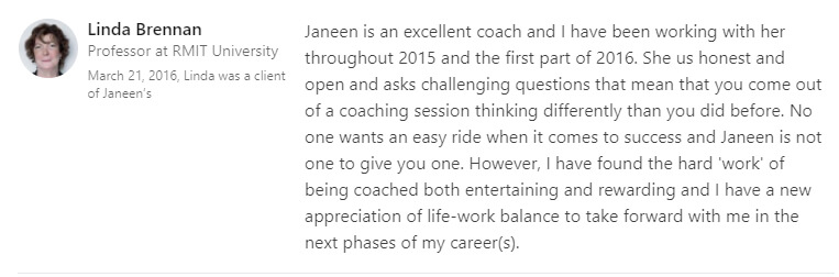 Testimonial by Linda Brenman from LinkedIn discussing working with Janeen Sonsie for Executive Coaching.